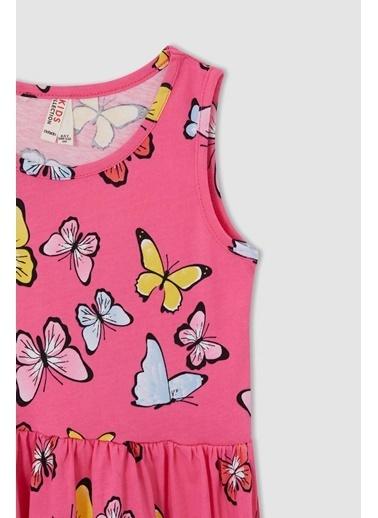 DeFacto Kız Çocuk Kelebek Desenli Kolsuz Elbise Nefti
